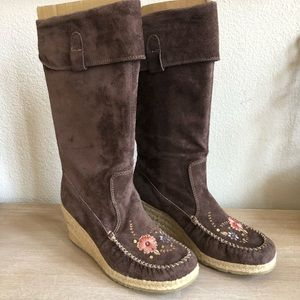Report Ataani Beige Suede Leather Moccasin Boots